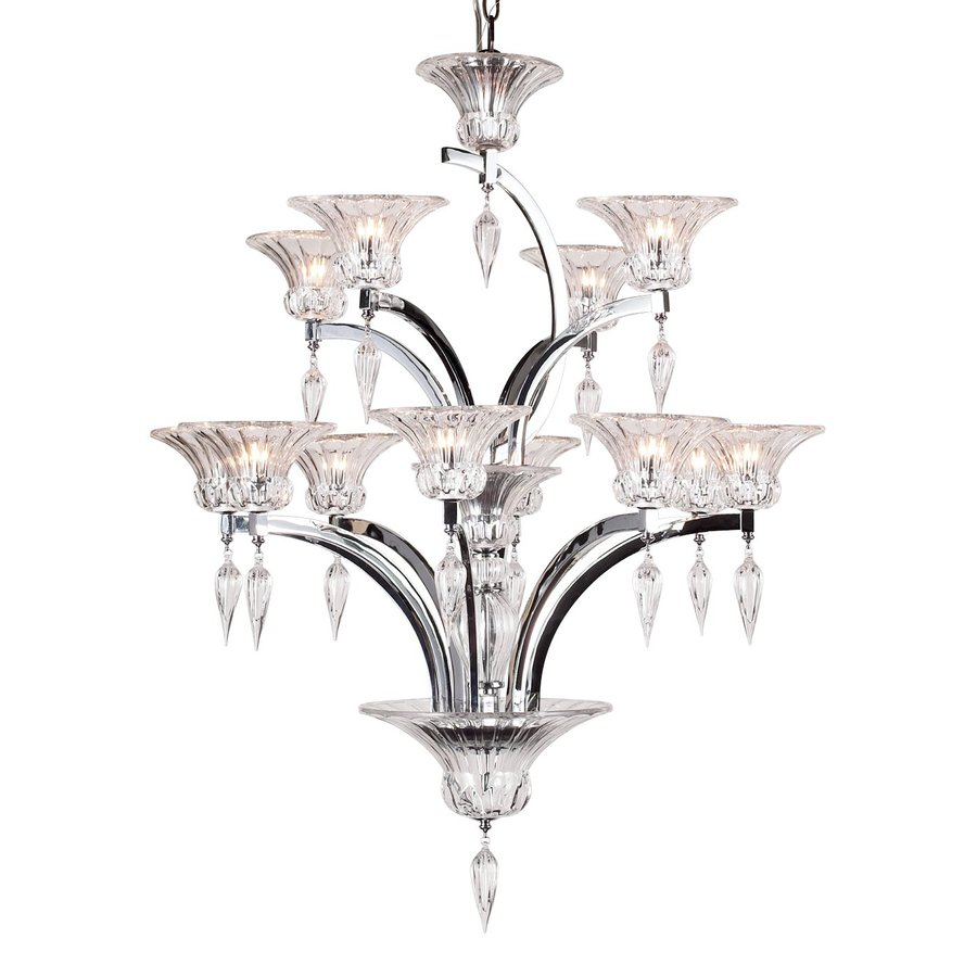 Eurofase Ombrelle 32.5-in 12-Light Chrome Clear Glass Tiered Chandelier