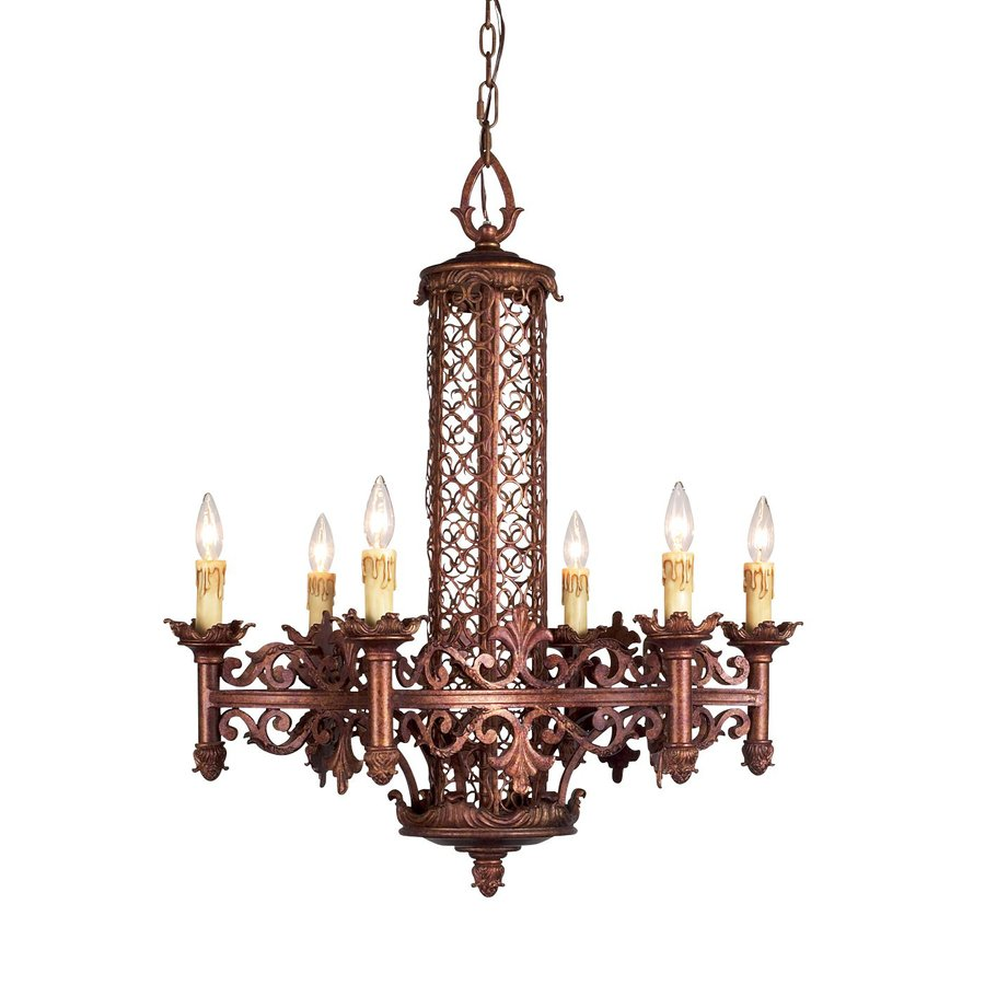 Eurofase Modesa 28-in 6-Light Bronze Mediterranean Candle Chandelier