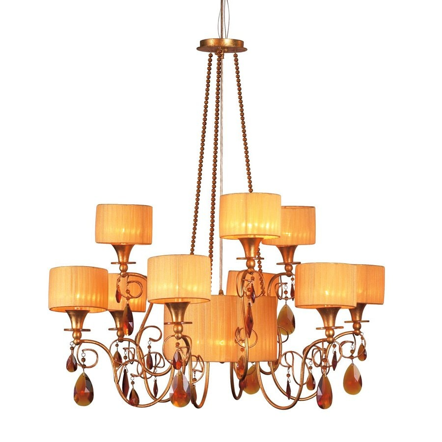 Eurofase Tempest 37-in 12-Light Aged Gold Tiered Chandelier