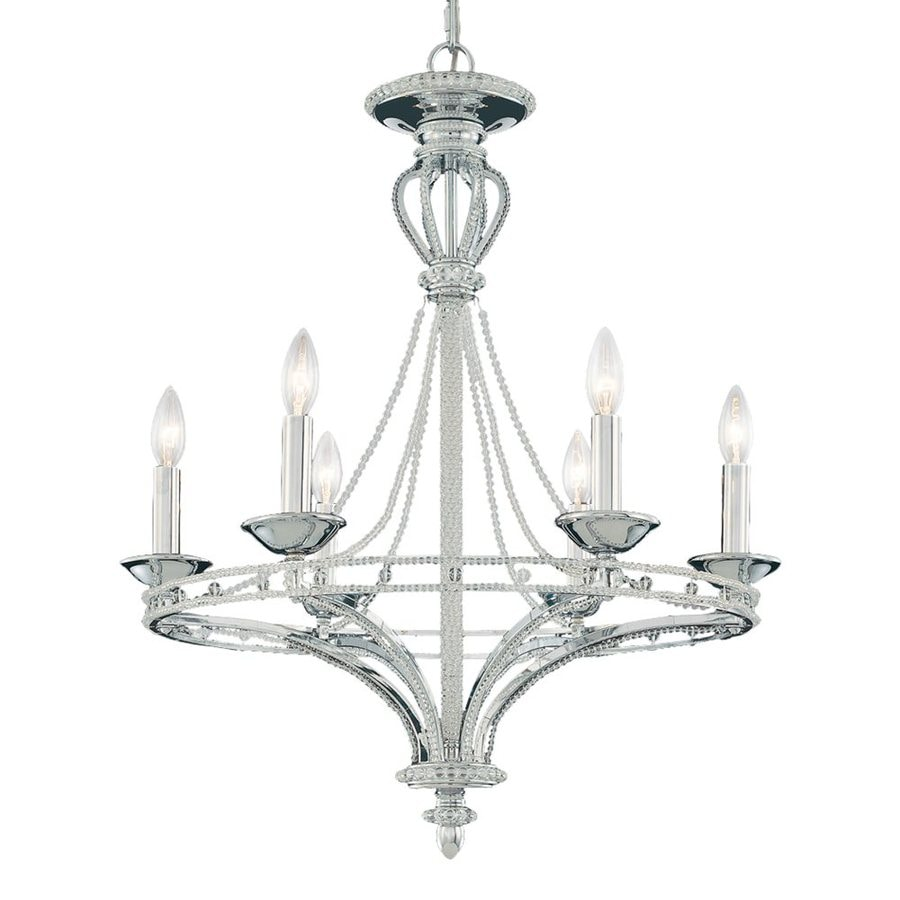 Eurofase Beauchamp 23.25-in 6-Light Brushed Nickel Candle Chandelier