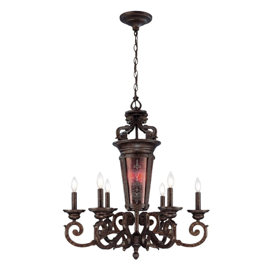Eurofase Casanova 28-in 9-Light Antique Bronze Mediterranean Tinted Glass Candle Chandelier