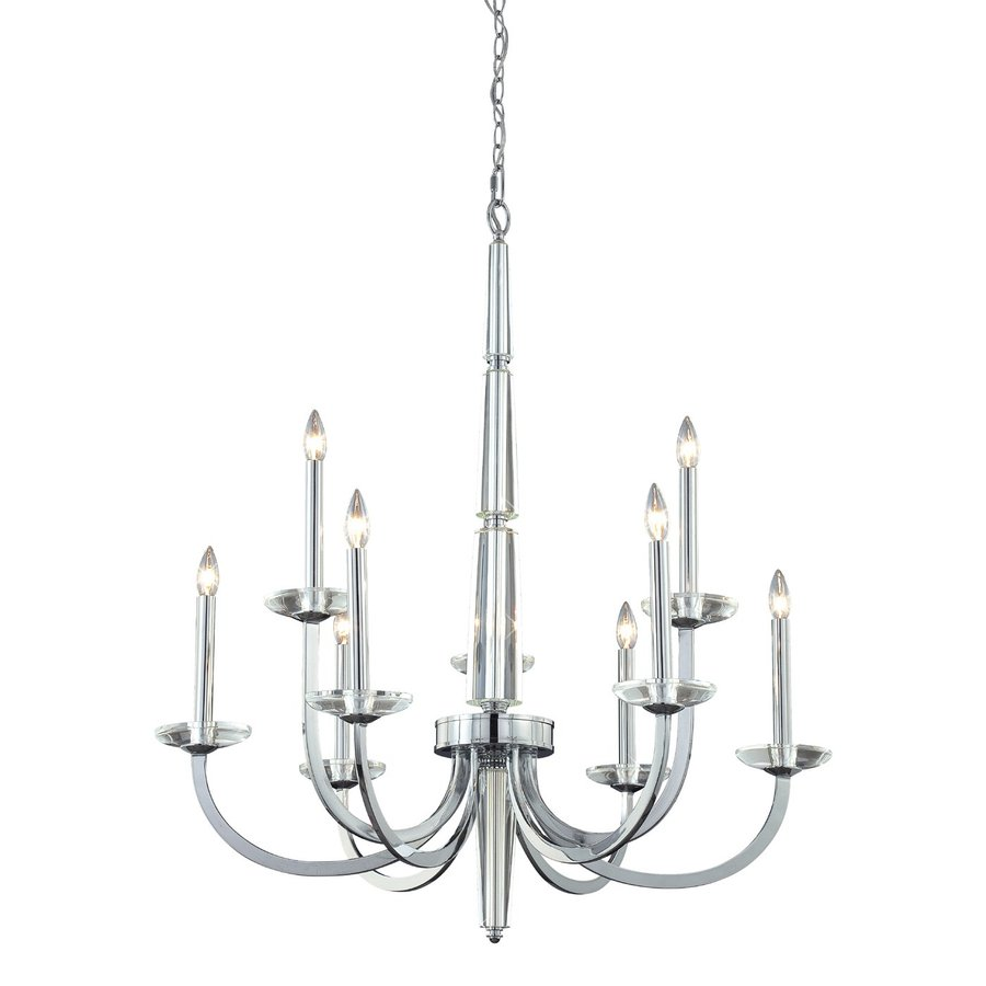 Eurofase Senze 36-in 9-Light Chrome Williamsburg Candle Chandelier