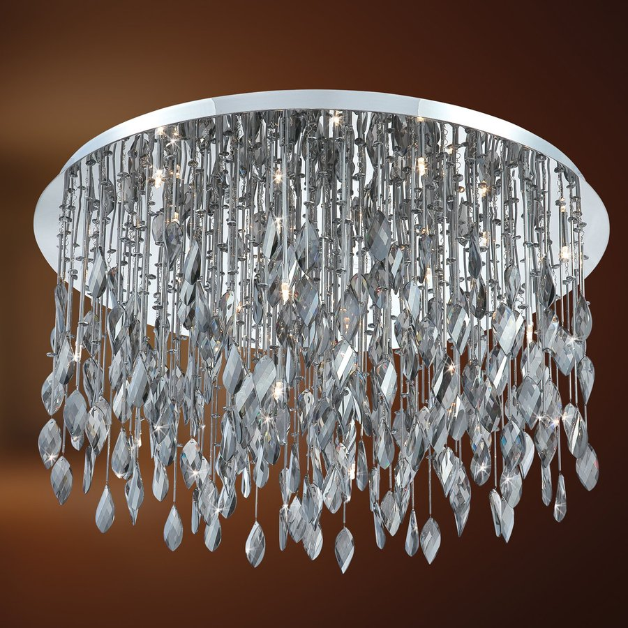 Eurofase Vega 33.5-in W Chrome Crystal Ceiling Flush Mount Light