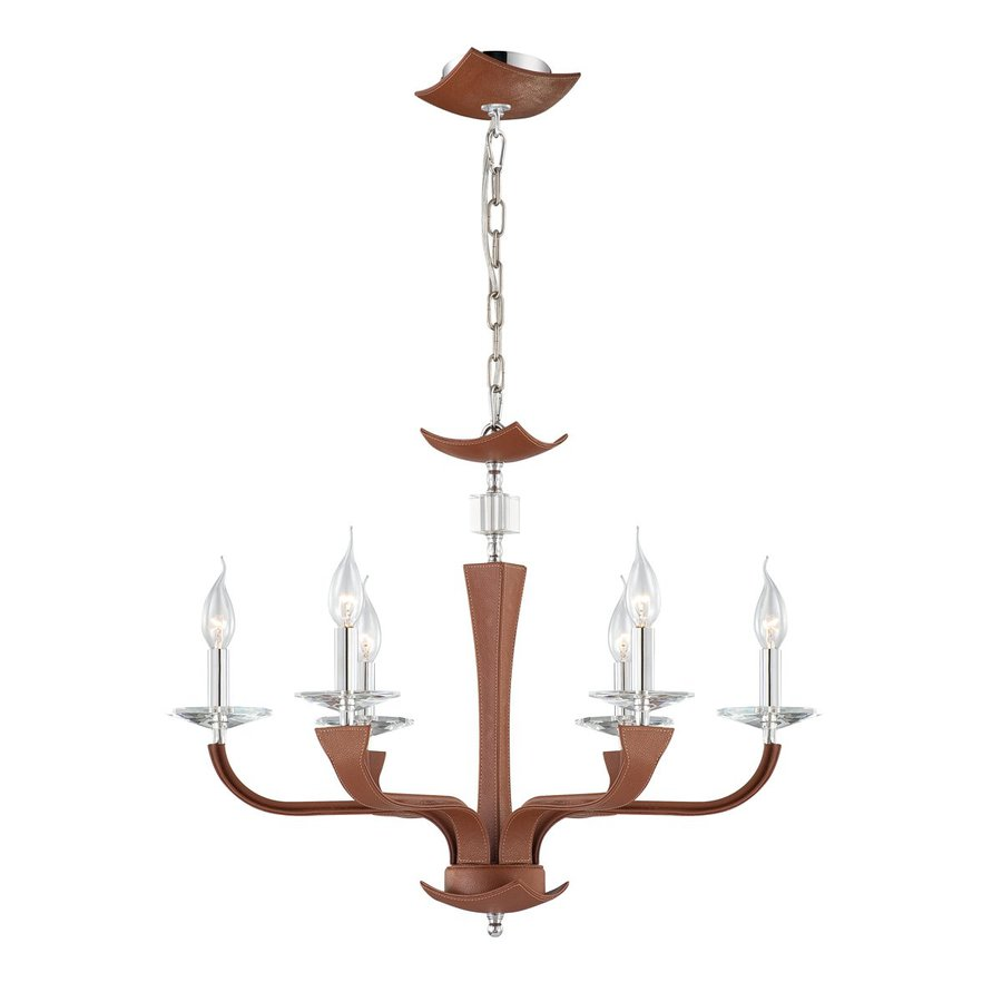 Eurofase Pella 25.75-in 6-Light Brown Candle Chandelier