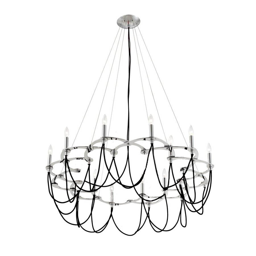 Eurofase Triumph 34-in 12-Light Black Candle Chandelier
