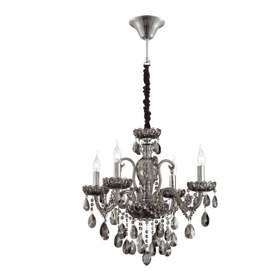 Eurofase Providence 24.25-in 4-Light Smoke Crystal Candle Chandelier