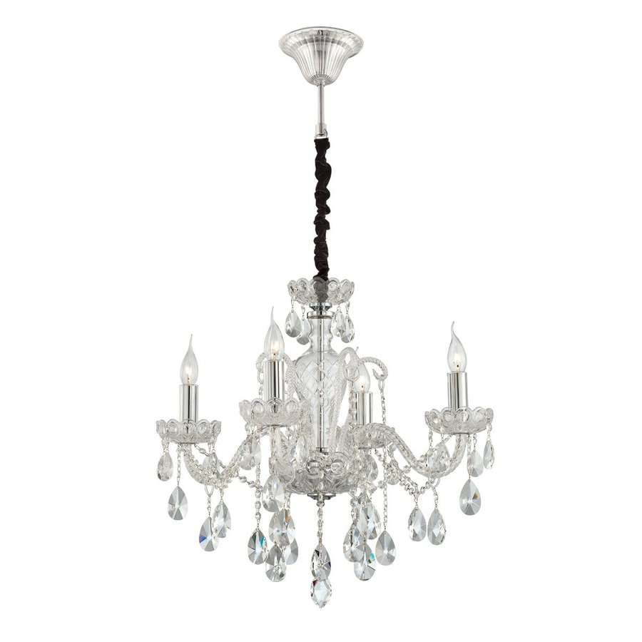 Eurofase Providence 24.25-in 4-Light Clear Crystal Candle Chandelier