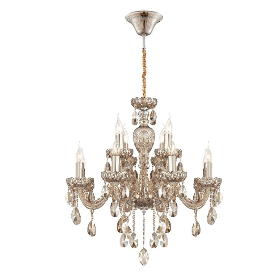 Eurofase Providence 28.25-in 12-Light Cognac Brandy Crystal Candle Chandelier