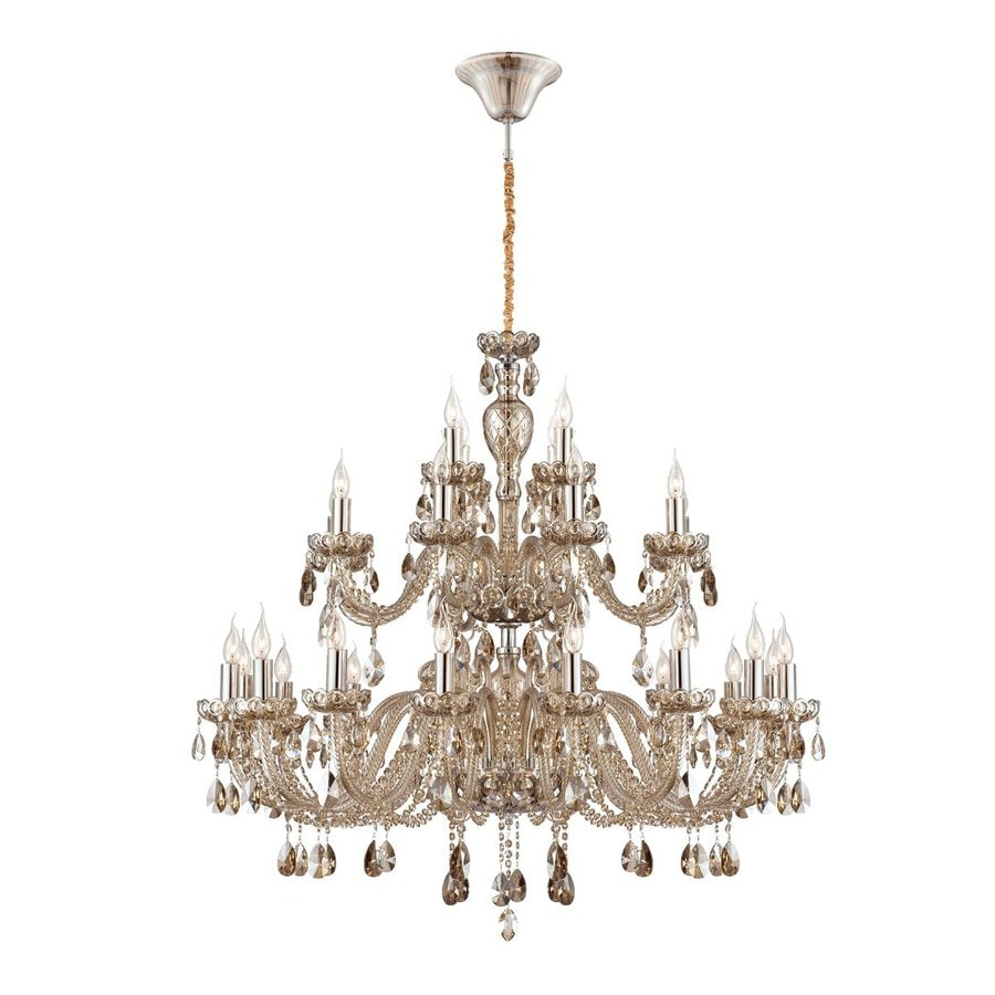 Eurofase Providence 47.25-in 28-Light Cognac Brandy Crystal Tiered Chandelier