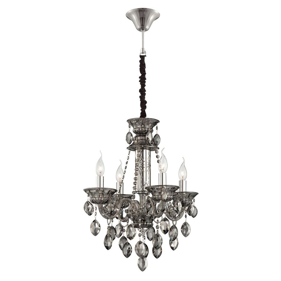 Eurofase Venetian 19.75-in 4-Light Smoke Crystal Candle Chandelier