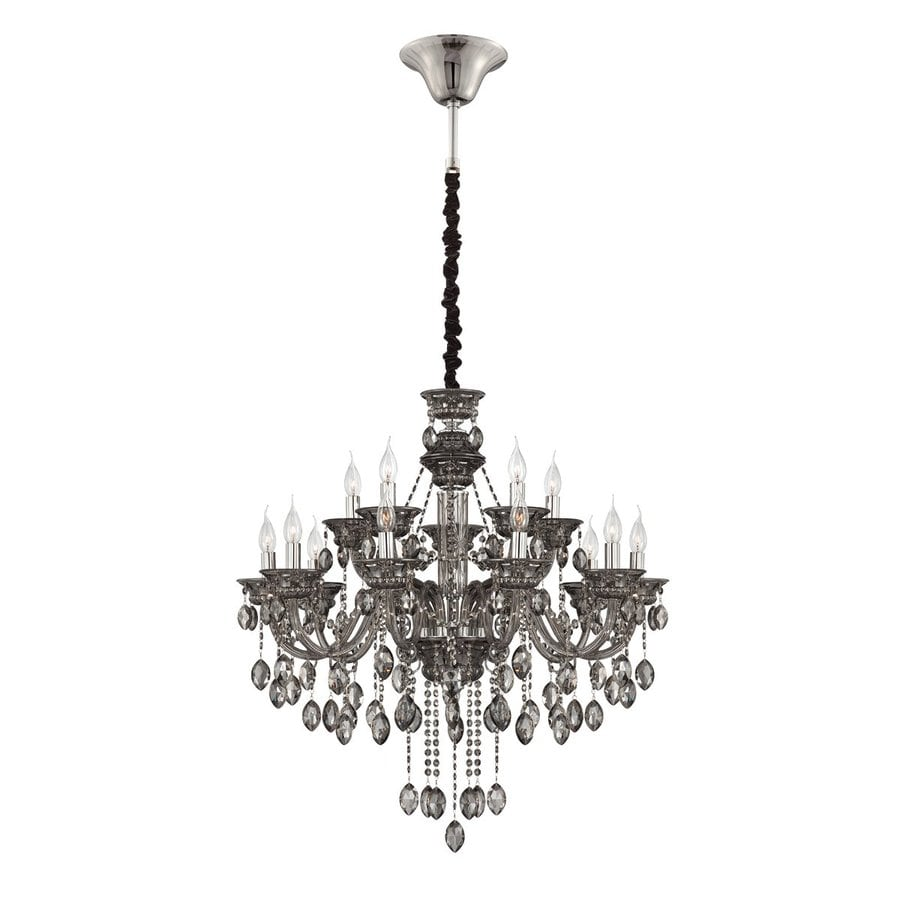 Eurofase Venetian 32.5-in 15-Light Smoke Crystal Candle Chandelier