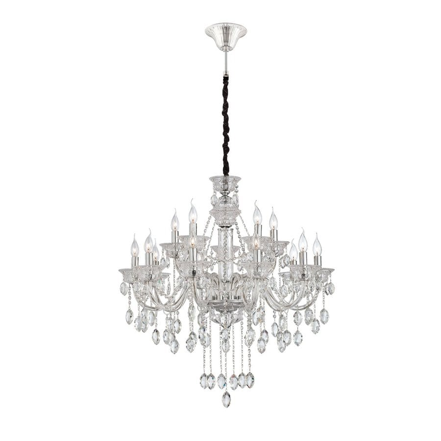 Eurofase Venetian 32.5-in 15-Light Clear Crystal Candle Chandelier