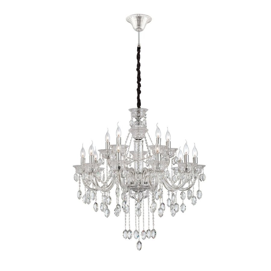 Shop eurofase venetian 32 5 in 15 light clear crystal Crystal candle chandelier