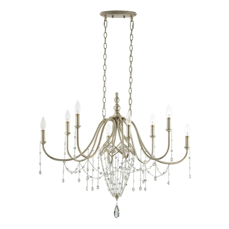 Eurofase Collana 35.75-in 8-Light Silver Leaf Candle Chandelier