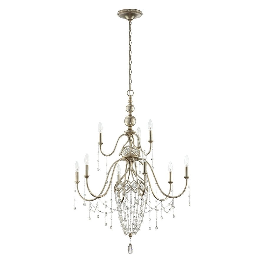 Eurofase Collana 31-in 9-Light Silver Leaf Tiered Chandelier