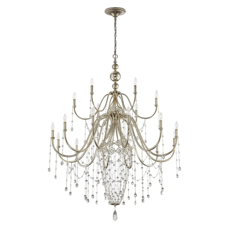 Eurofase Collana 43.5-in 18-Light Silver leaf Tiered Chandelier
