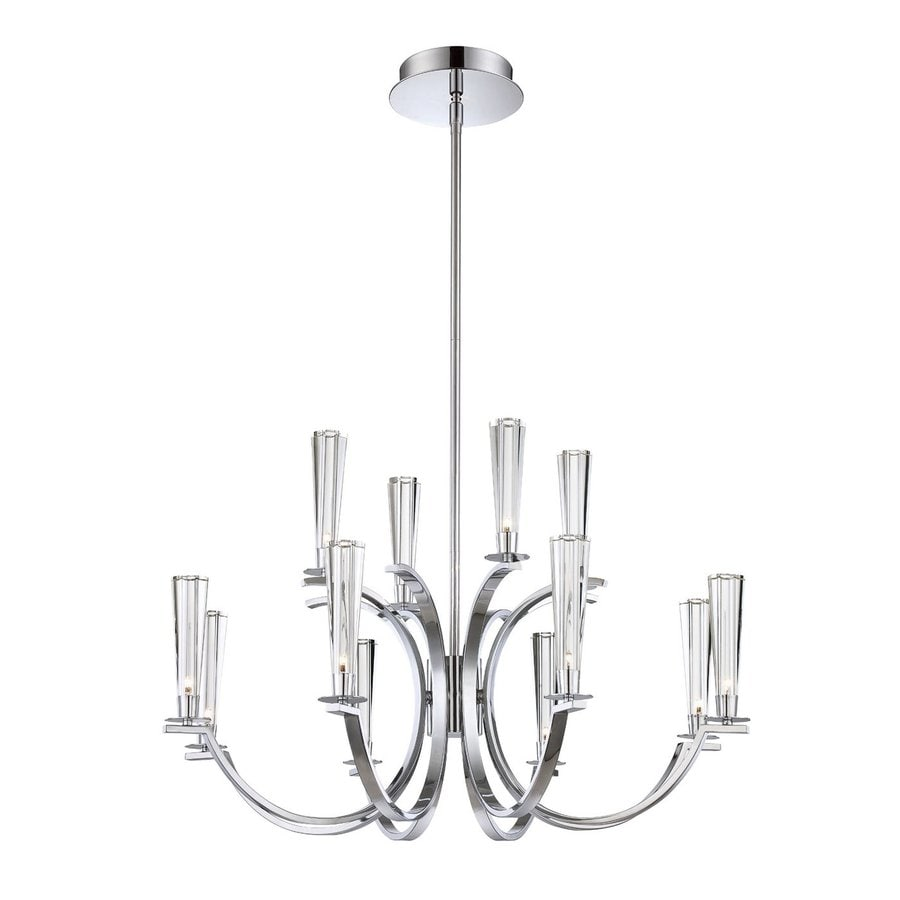 Eurofase Cromo 32-in 12-Light Polished chrome Clear Glass Tiered Chandelier