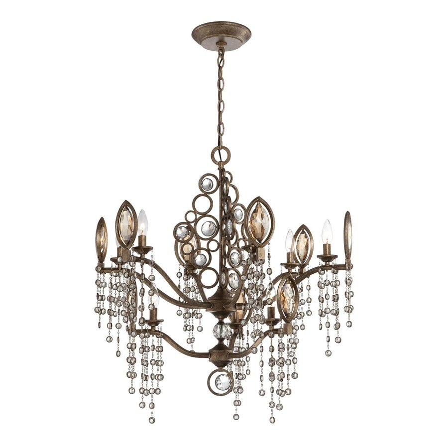 Eurofase Capri 30.25-in 9-Light Bronze Vintage Candle Chandelier