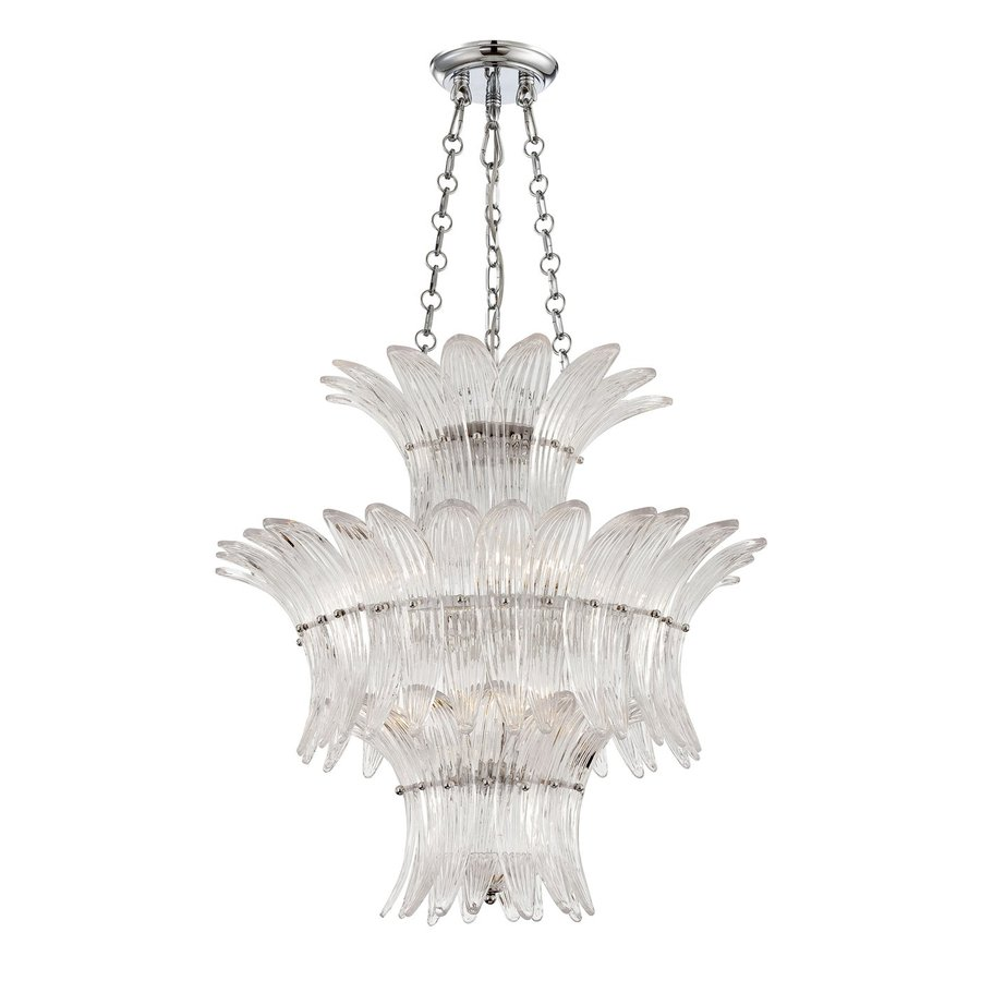 Eurofase Fiore 26-in Chrome Vintage Ribbed Glass Pendant