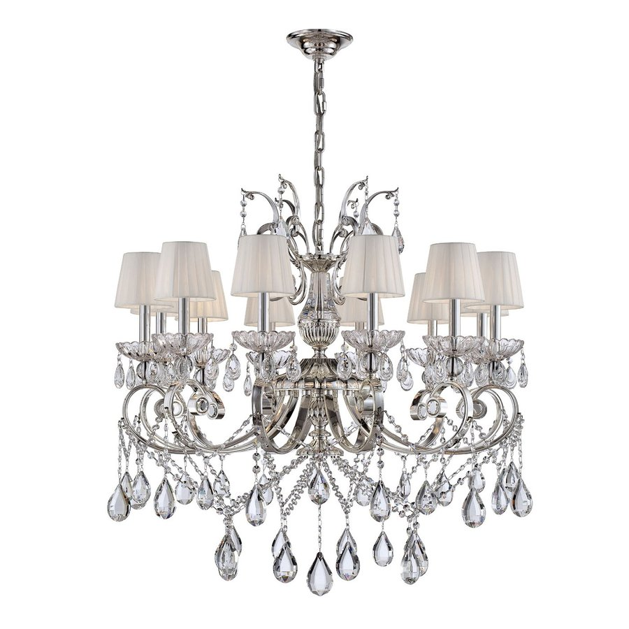 Eurofase Volante 34-in 12-Light Silver Crystal Shaded Chandelier