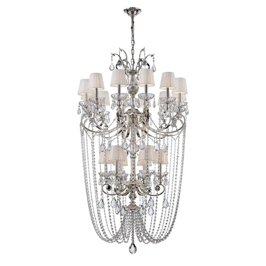 Eurofase Volante 34-in 18-Light Silver Crystal Draped Chandelier