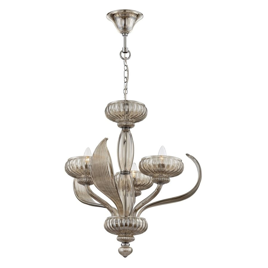Eurofase Cupola 21.5-in 3-Light Cognac Vintage Tinted Glass Candle Chandelier