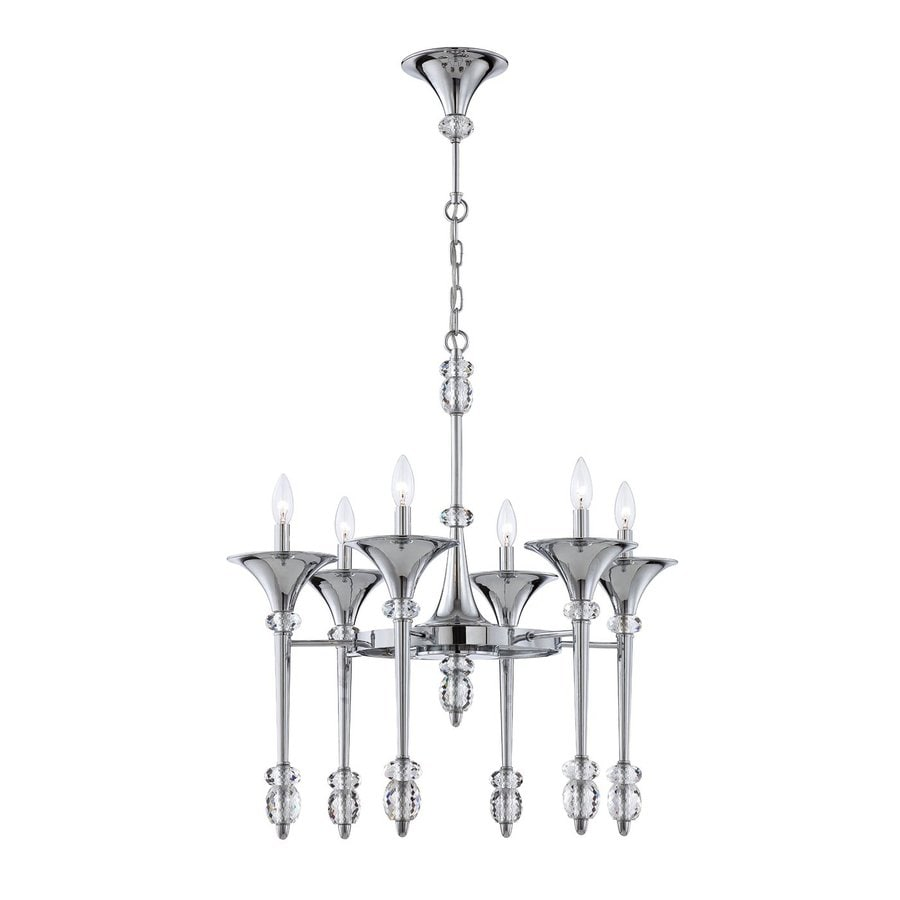 Eurofase Cannello 26-in 6-Light Chrome Candle Chandelier