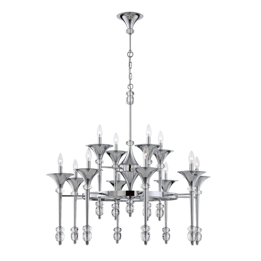 Eurofase Cannello 37.75-in 12-Light Chrome Tiered Chandelier