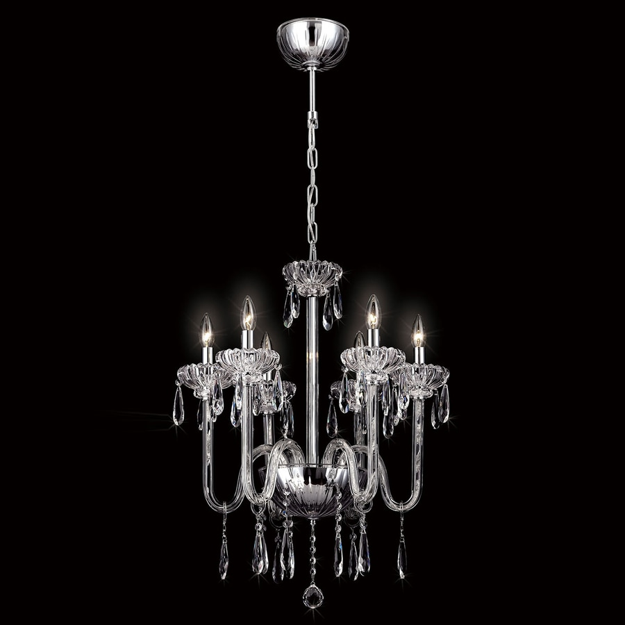 Eurofase Villa 22-in 6-Light Chrome Crystal Candle Chandelier