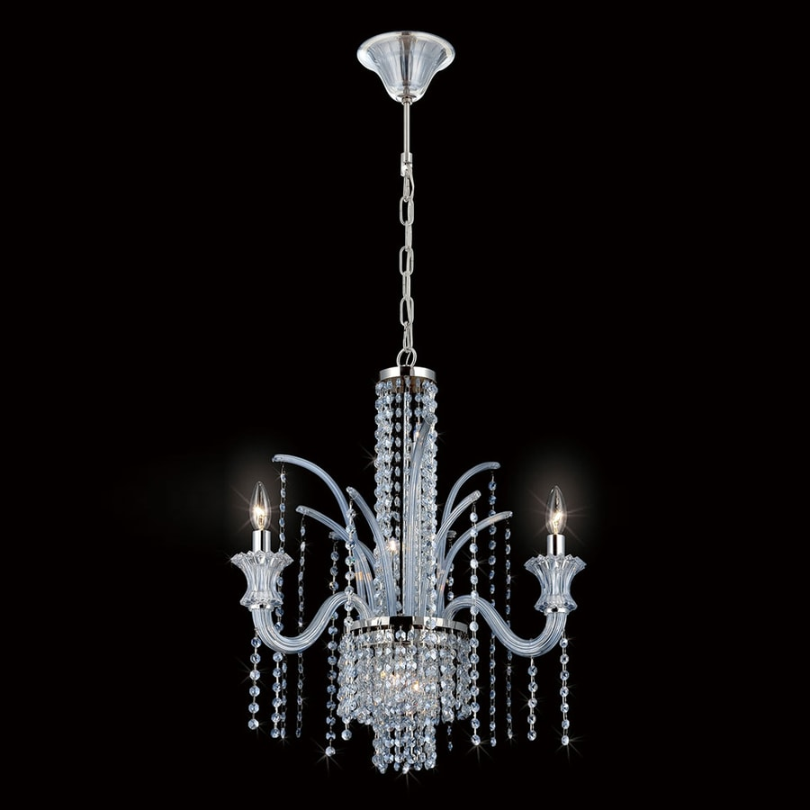 Eurofase Nava 23.25-in 3-Light Chrome Crystal Waterfall Chandelier