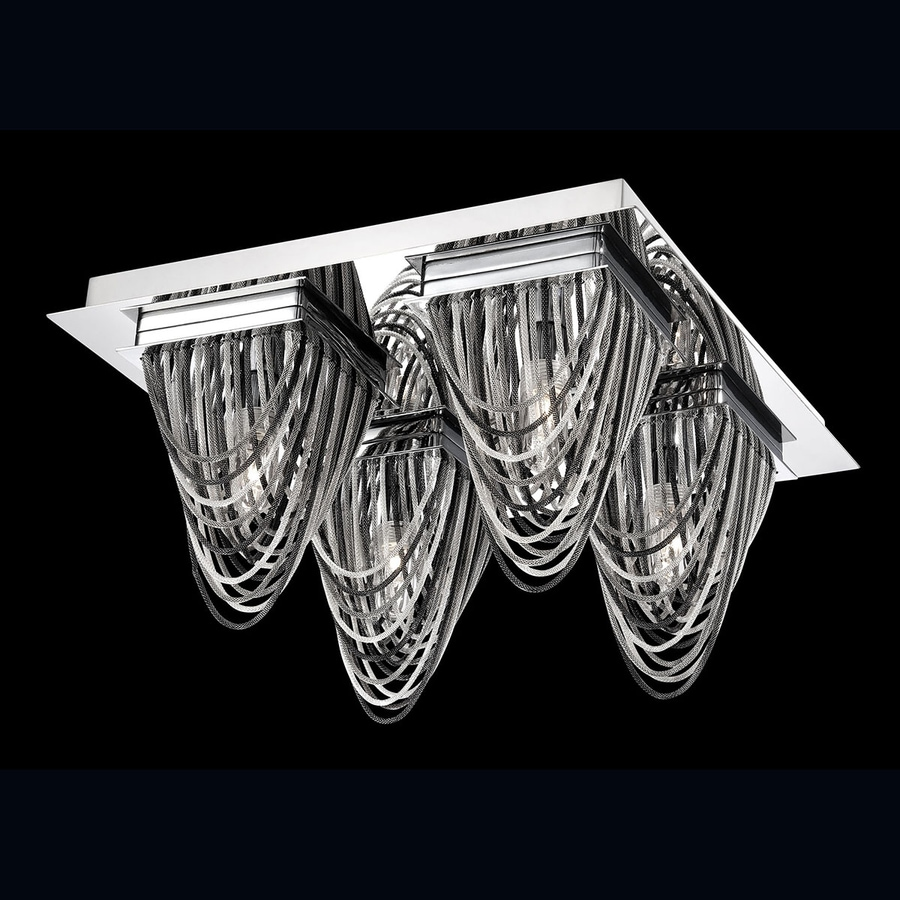 Eurofase Wasaga 13-in W Chrome Ceiling Flush Mount Light