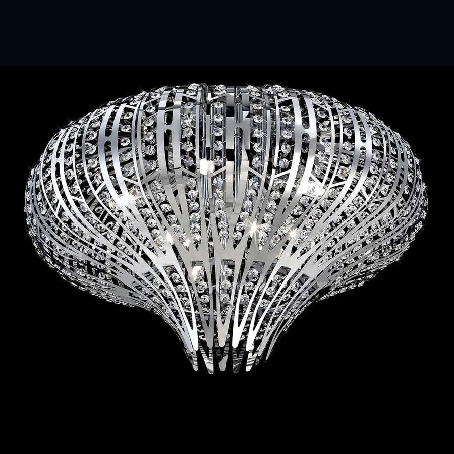 Eurofase Monica 27-in W Chrome Crystal Ceiling Flush Mount Light