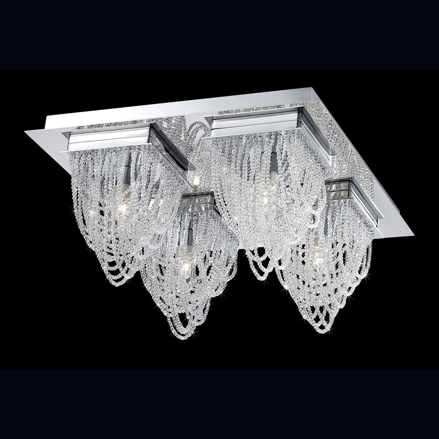 Eurofase Rio 13-in W Chrome Crystal Accent Ceiling Flush Mount Light