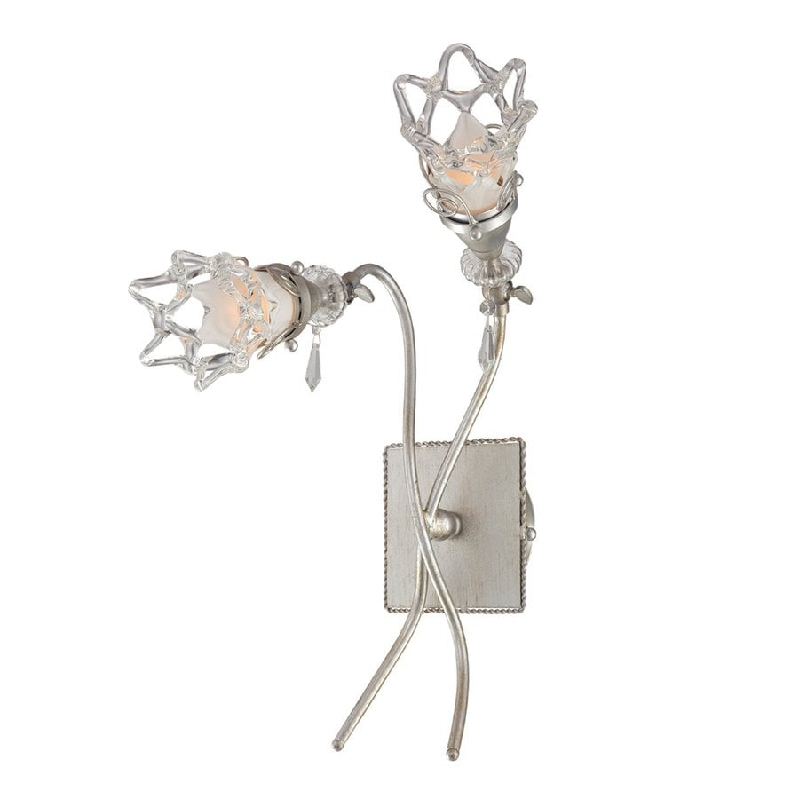 Eurofase Mara 9.5-in W 2-Light Antique Silver Arm Hardwired Wall Sconce