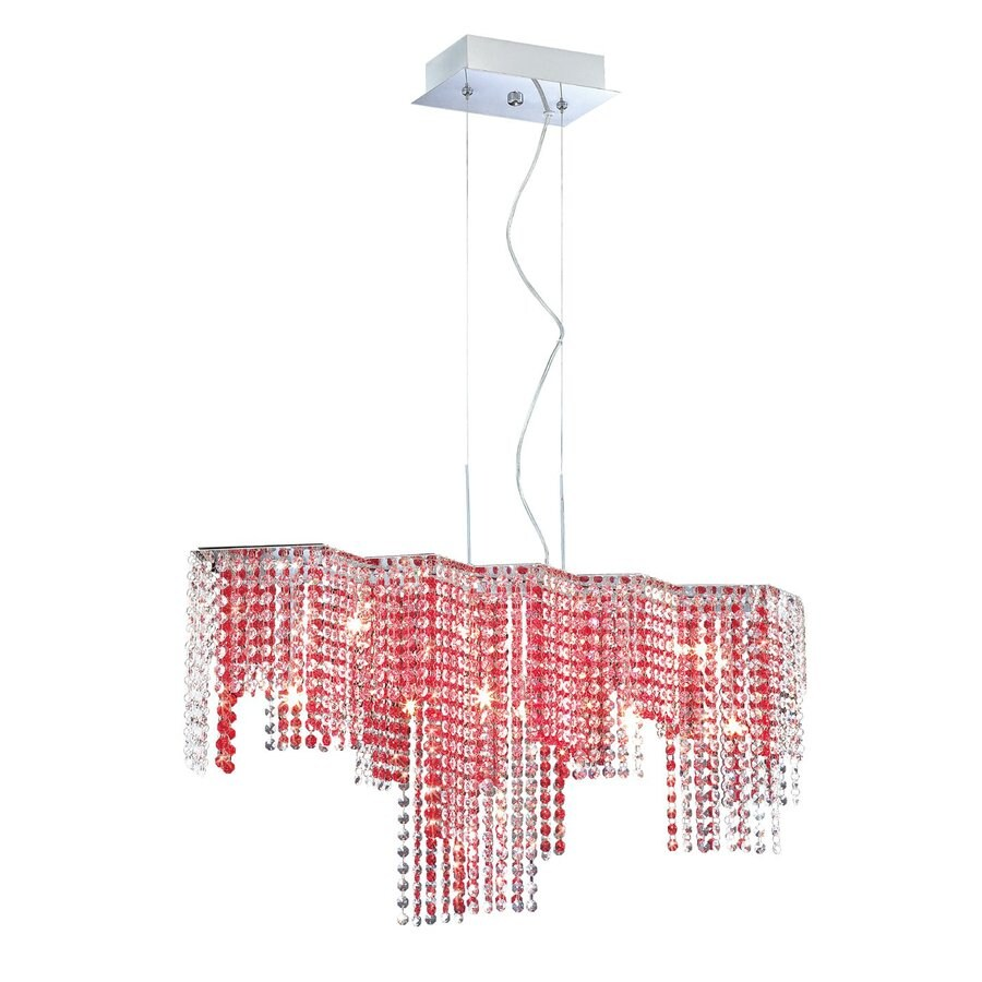 Eurofase Celestino 9.75-in W 9-Light Chrome Crystal Accent Kitchen Island Light with Crystal Shade
