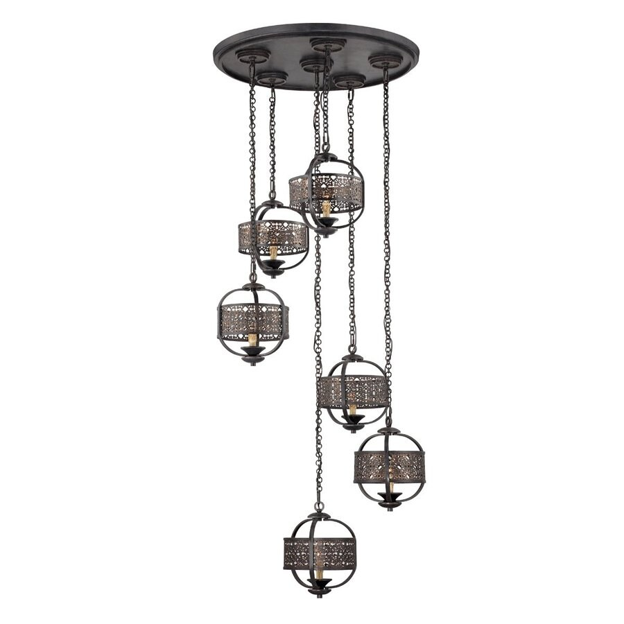 Eurofase Arsenal 31.5-in Ancient Bronze Mediterranean Multi-Light Cage Pendant