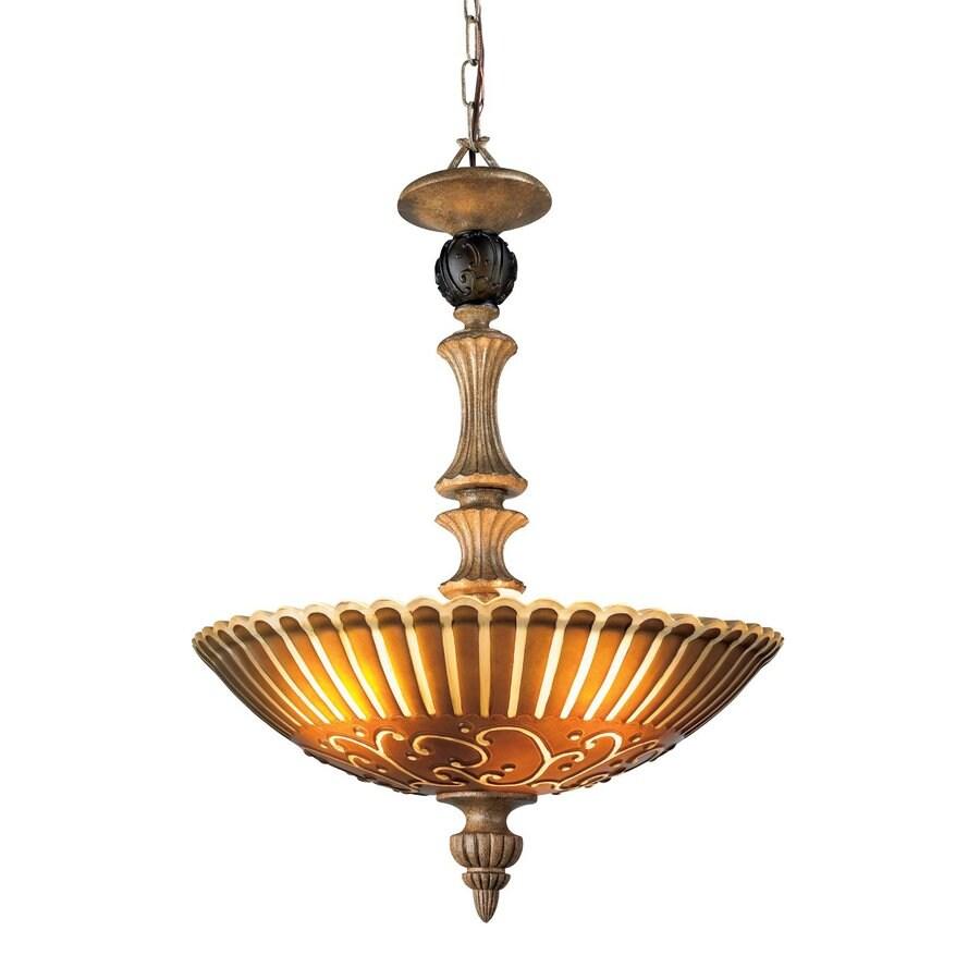 Eurofase Fenton 18.5-in Aged Taupe Mediterranean Textured Glass Bowl Pendant