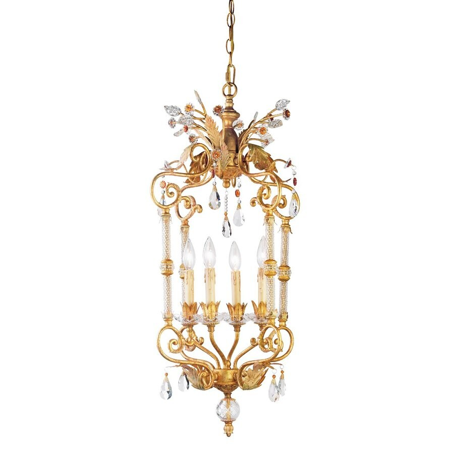 Eurofase Dahlia 17-in 4-Light Antique Gold Vintage Cage Chandelier