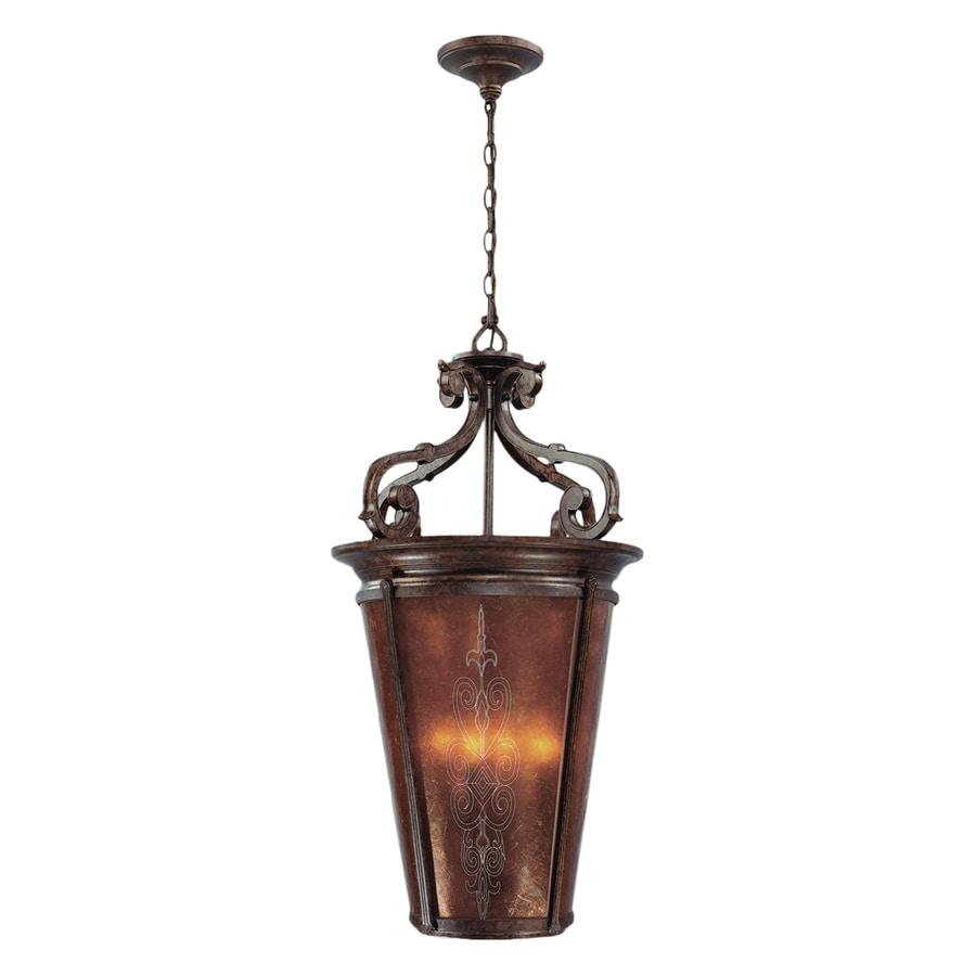 Eurofase Casanova 20.5-in Antique Bronze Mediterranean Single Textured Glass Lantern Pendant
