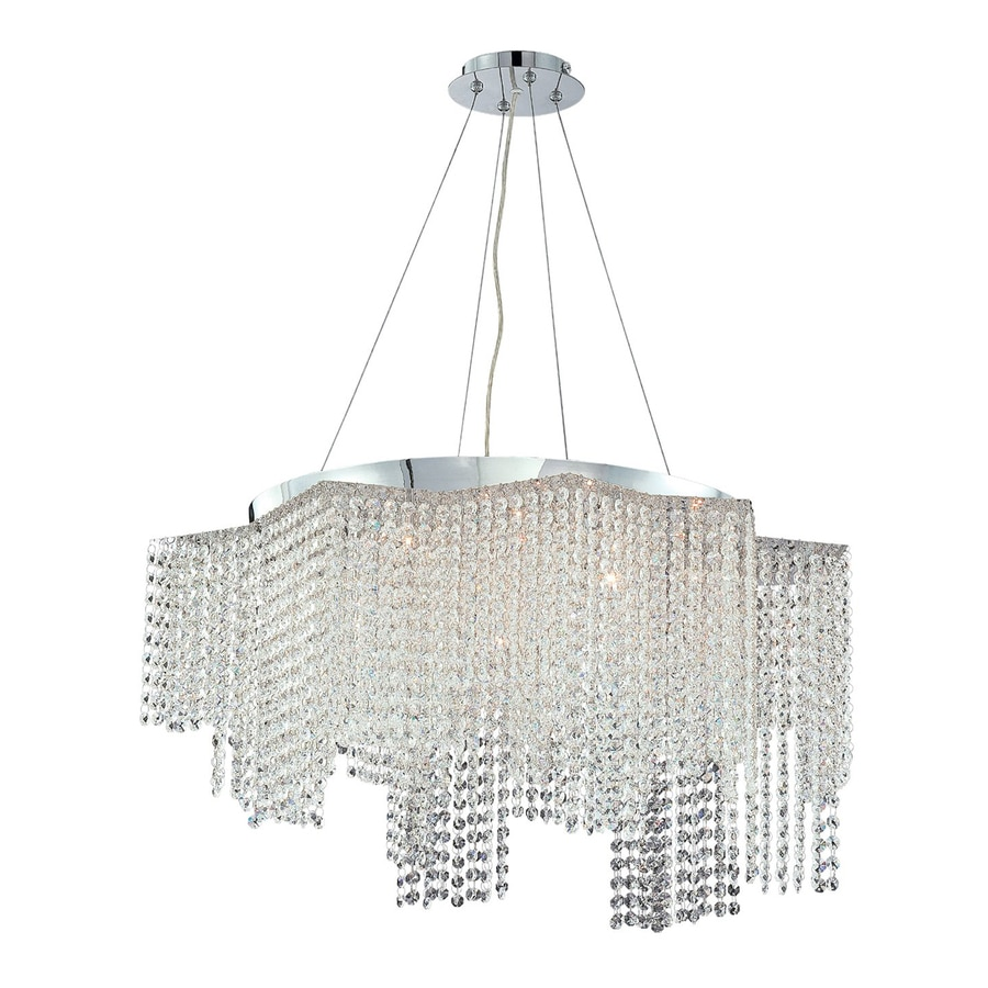 Eurofase Celestino 29-in Chrome Clear Crystal Geometric Pendant