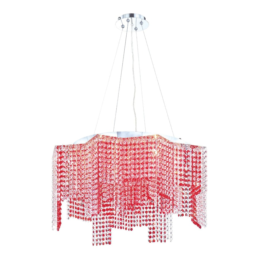 Eurofase Celestino 29-in Chrome Red Crystal Geometric Pendant