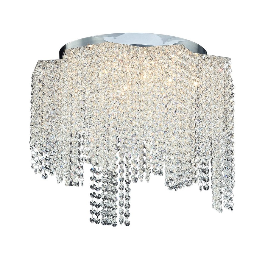 Eurofase Celestino 20-in W Chrome Crystal Ceiling Flush Mount Light
