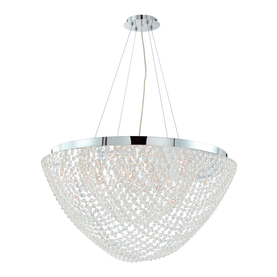 Eurofase Solana 31-in Chrome Clear Crystal Acorn Pendant