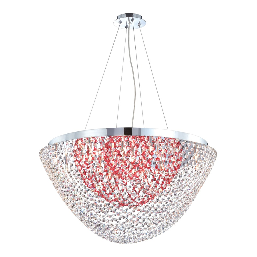 Eurofase Solana 31-in Chrome Red Crystal Acorn Pendant