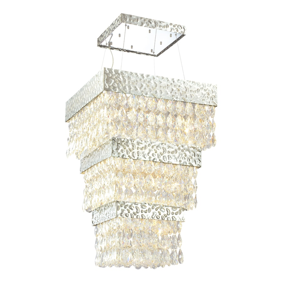 Eurofase Martellato 30-in Nickel Clear Crystal Rectangle Pendant