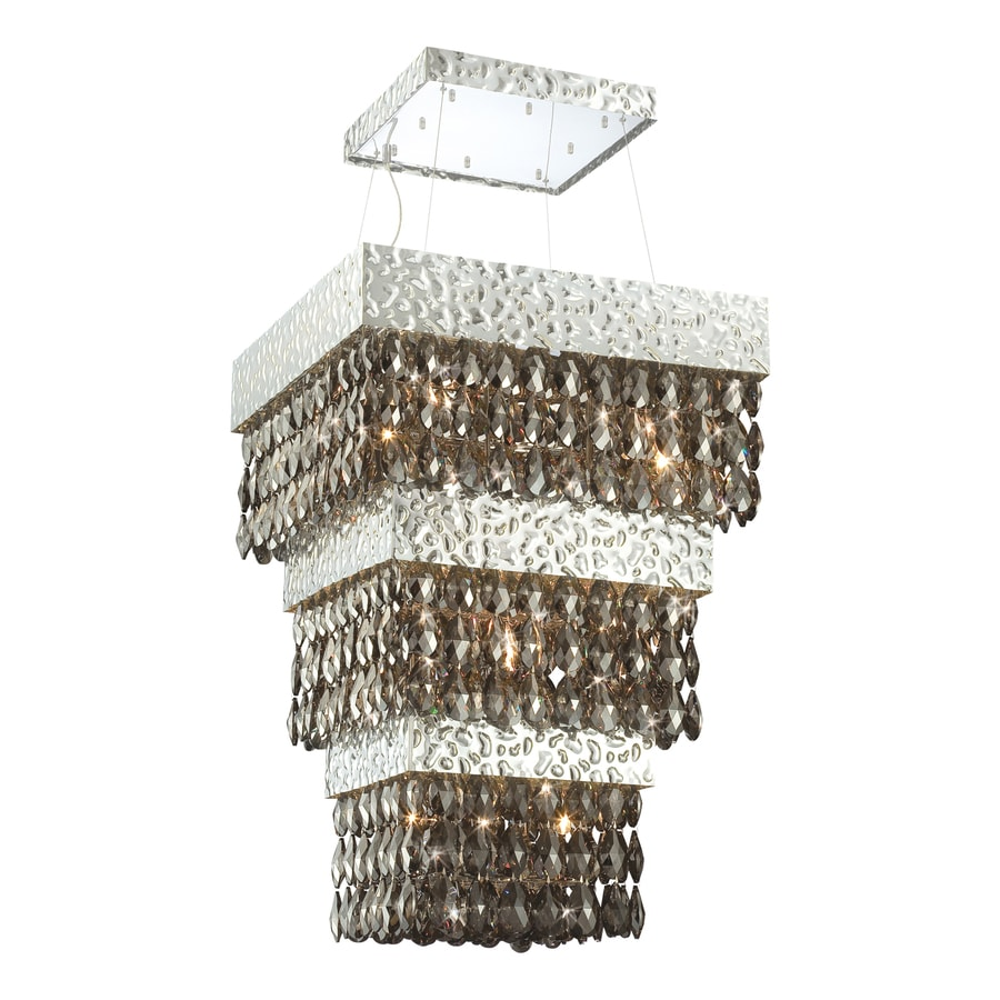 Eurofase Martellato 30-in Nickel Smoke Crystal Rectangle Pendant
