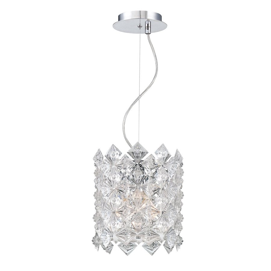 Eurofase Cristallo 10-in Chrome Crystal Textured Glass Cylinder Pendant