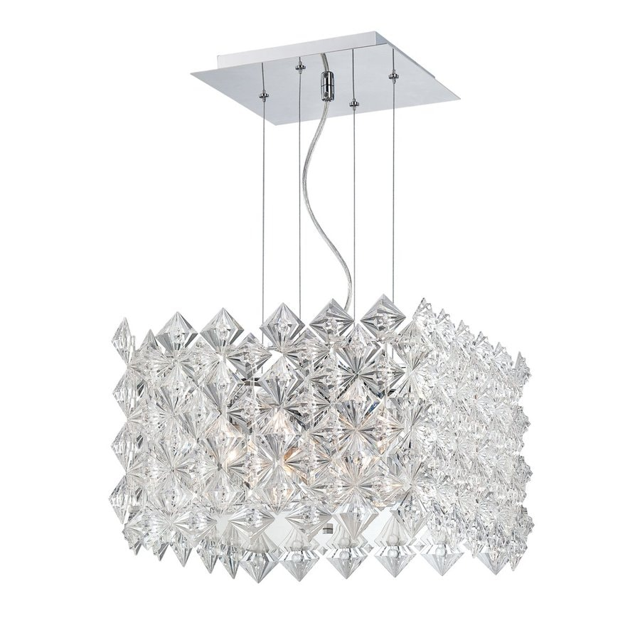 Eurofase Cristallo 15.75-in Chrome Crystal Textured Glass Square Pendant