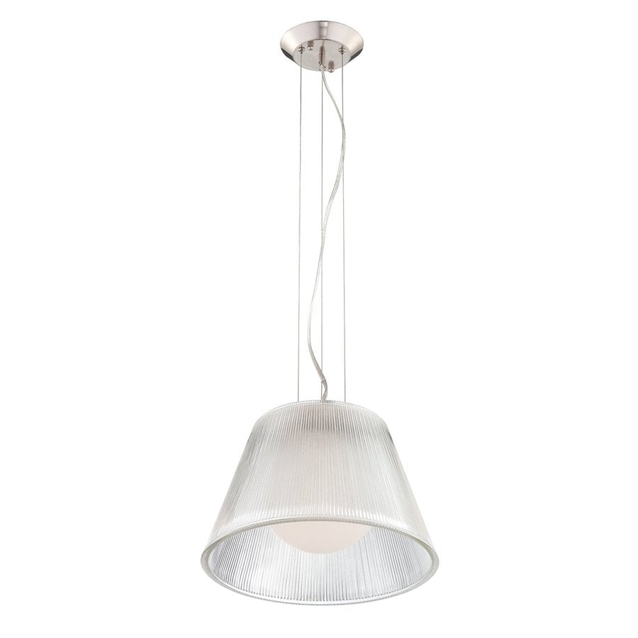 Eurofase Ribo 13.25-in Chrome Industrial Ribbed Glass Drum Pendant