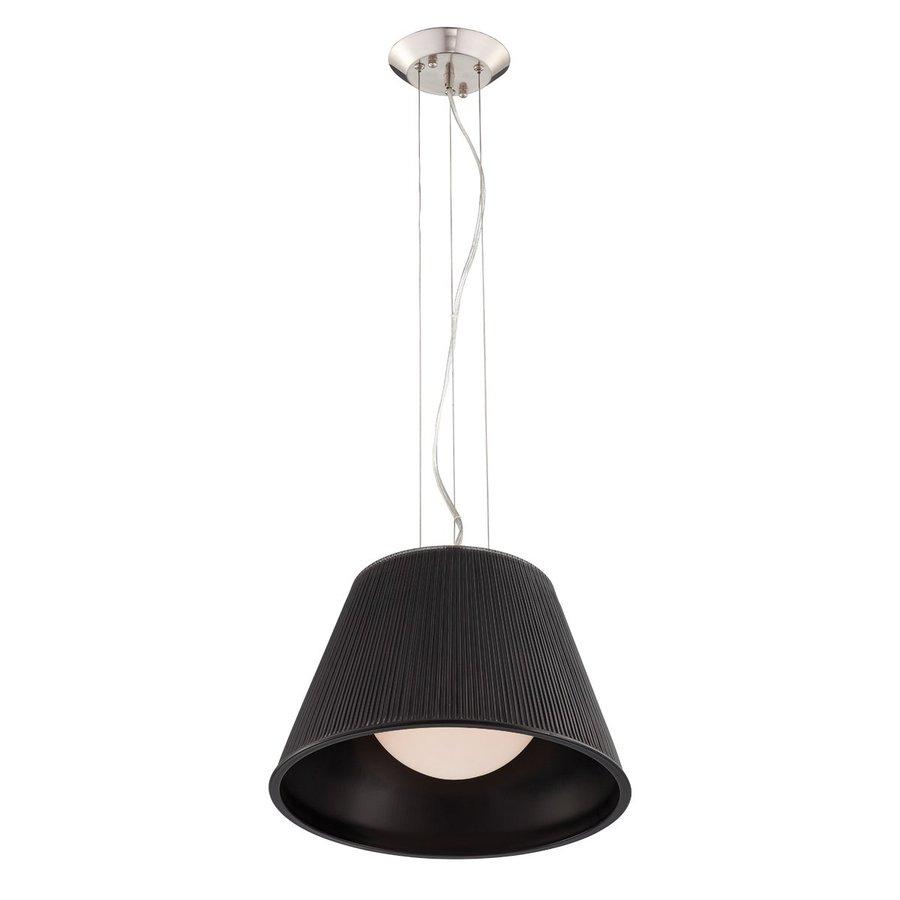 Eurofase Ribo 13.25-in Chrome Industrial Black Ribbed Glass Drum Pendant
